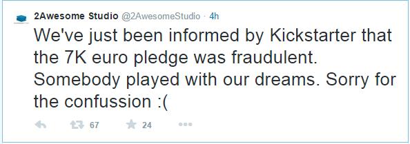 Kickstarter Scam Tweet