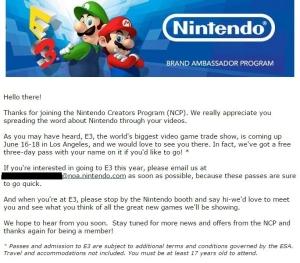 NintendoCreatorsProgramE3EmailInvite