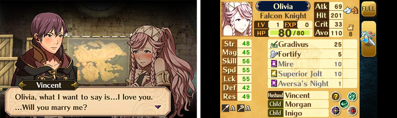 Fire Emblem Relationship Screen