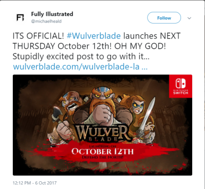 Wulverblade Launch Tweet